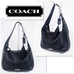 Coach Avery Black Pebble Leather Hobo Shoulder Bag